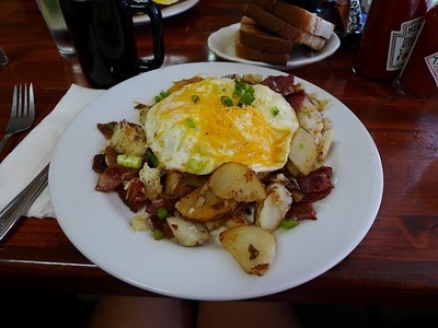 We had to pick up our permit at the Lone Pine Interagency Visitor's center when they opened at 8. Conveniently the Alabama Hills Cafe opens at 7. This is the Humphrey Bogart Skillet. It is very very yummy.