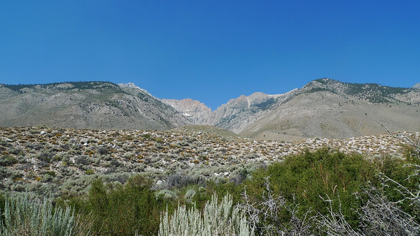 View from Taboose Trailhead. We'll head up that canyon to the pass. As you can see it starts in the desert.
