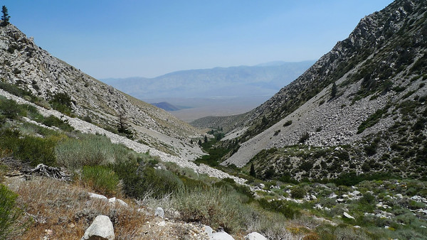 Looking back down towards the trailhead. It's still hot but as we gain altitude the temperature slowly drops.