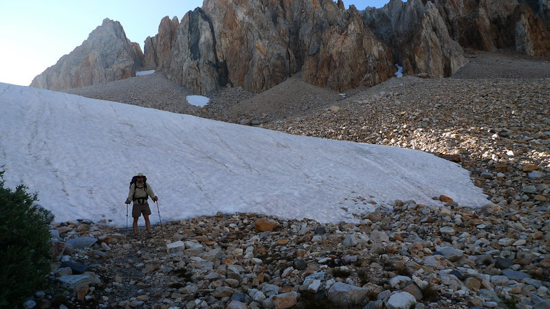 The first snow crossing of the trip. It's either walk up it or go around it in the talus. We do a bit of both.