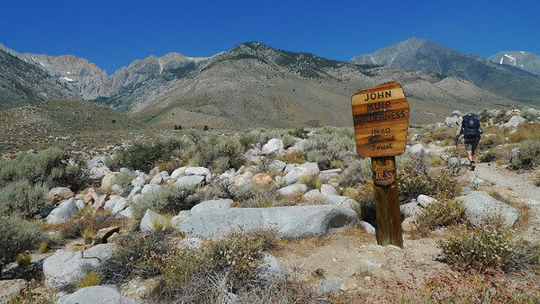 Entering the John Muir Wilderness. We'll be in it for the day - we'll cross into Kings Canyon National park at the Pass