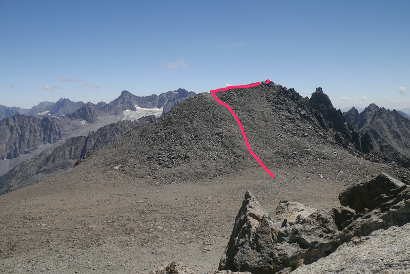 My roughly drawn route. I went up easy slopes to the ridge, then traversed across to the summit. The point where the line disappears is where I dropped down on the other side to avoid a more difficult traverse across bigger boulders.