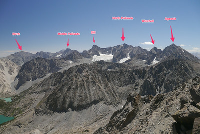 Labeled peaks of the Palisades