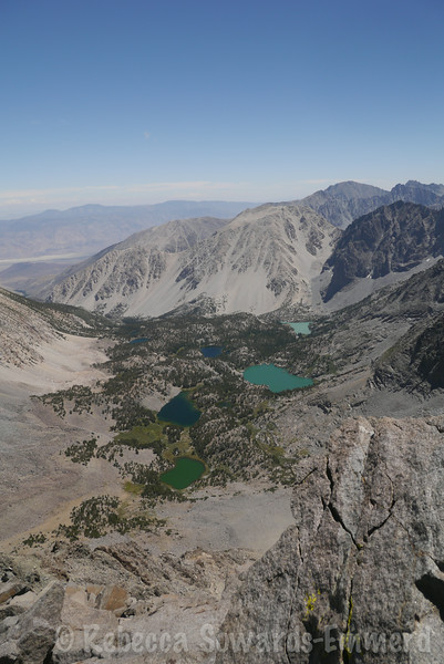View down on the Big Pine Lakes and their glacial silt color