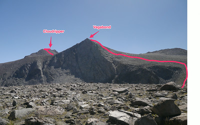 Route. Scramble up Vagabond, down the back side, and then up Cloudripper