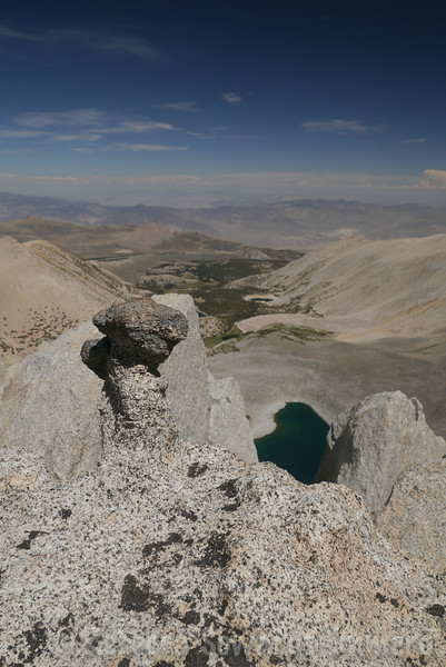 Well that was quick. Vagabond Summit! The notch is only a short walk from the fun summit blocks so I decided to make a second visit. Thunder & Lightning Lake below.