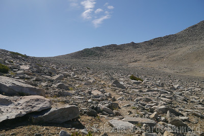 Climbing the plateau, debating when to turn off the trail and gain the ridge.