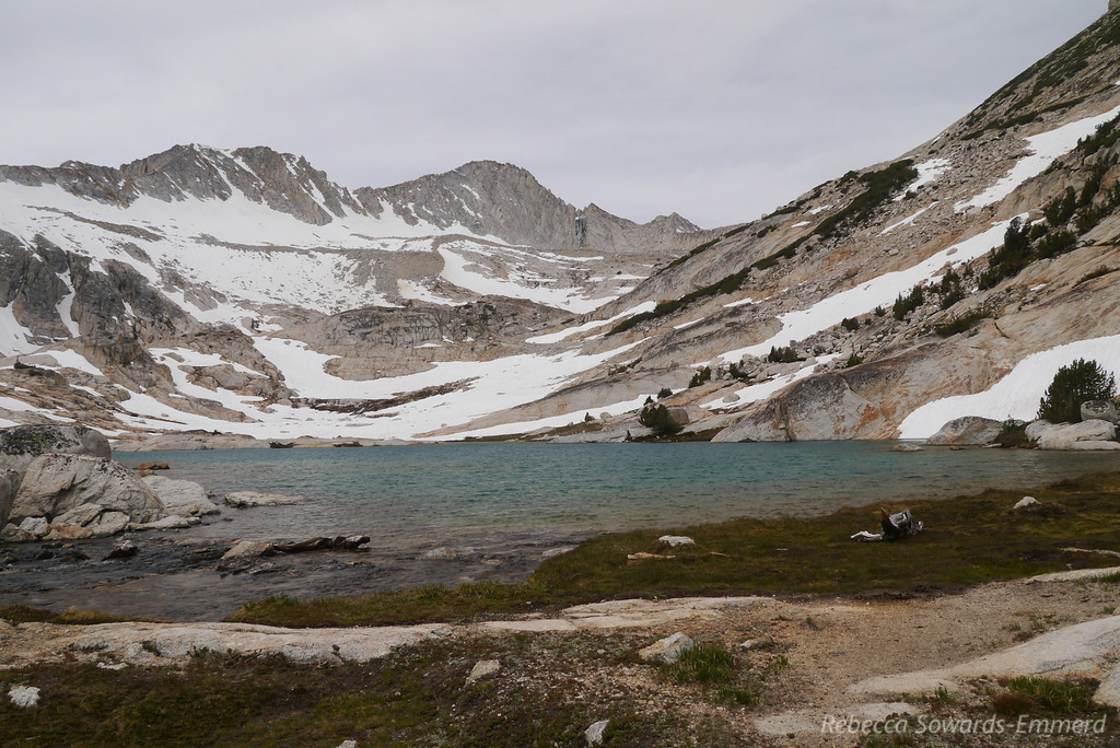 This is a gorgeous turquoise lake that sits below Mt Conness and the conness glacier. We decide to walk the right (north) shore to get to the upper lake beyond the snow fields.