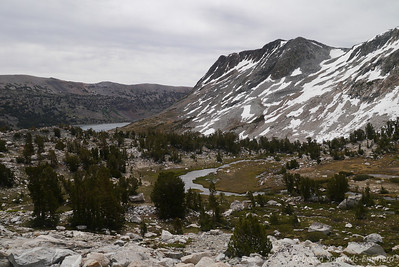 Looking back again. Saddlebag Lake visible in the distance. The flat grey skies are starting to turn into something but nothing ominous yet.