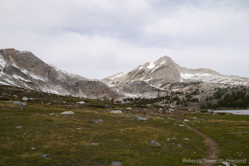 Once in 20 Lakes basin we fork off to the west along Greenstone Lake. North Peak now dominates the view.