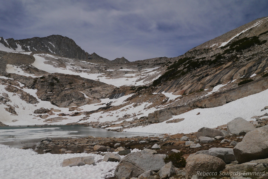 At the upper lake we found some lingering snow and ice.