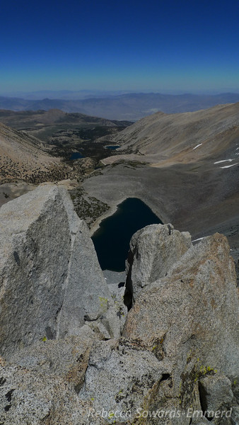 I got to the eastern most (and highest) pile and figured it was the summit. Really cool view down on Thunder and Lightning Lake from here (the top of Baker Creek drainage - our campsite is down there in the trees somewhere).