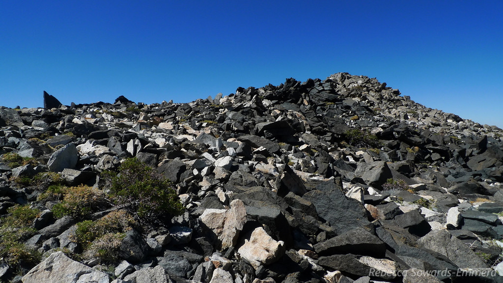 The last stretch to the summit of the Hunchback. The rocks are loose so combined with the wind, I'm moving pretty slow.