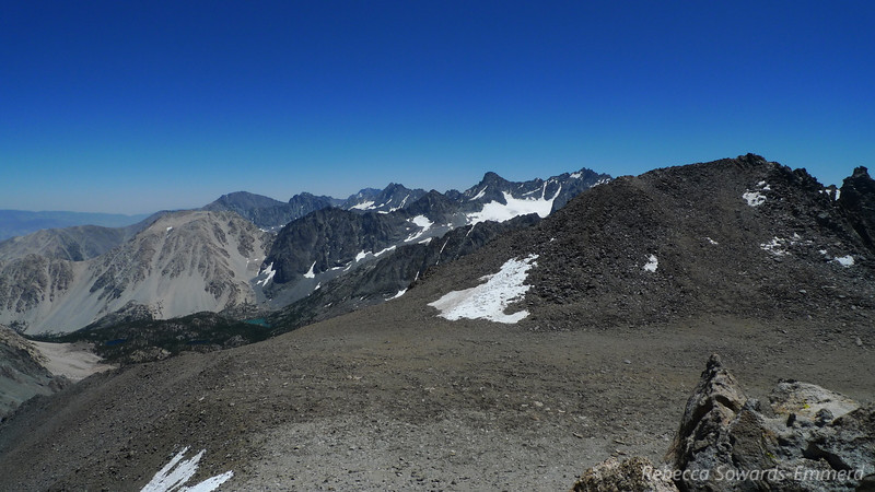 The beautiful view from Vagabond. The turquoise Big Pine Lakes below, and the Palisade Glacier above. Mt Sill is the prominent peak above the glacier, with North Pal to its right. Split Mtn (last summer's 14er) is the high peak in the distance. Cloudripper is immediately in front of me and my next destination. Maybe.