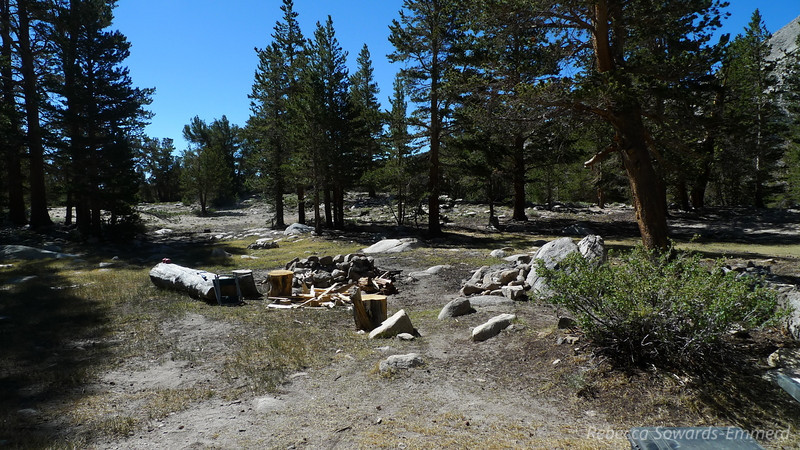 At the end of the road (wilderness boundary) there are several nice campsites and an old, degraded (but marginally functional) outhouse. We pulled into the first campsite since it had nice flat spots and some camp furniture (i.e. logs and rocks). This is at about 10,300 ft.