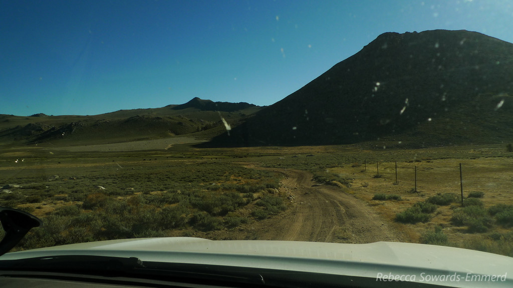 Sunday morning, driving out of Coyote Flat. View from the passenger seat (sugarloaf peak).