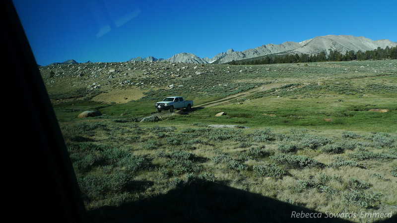 Antony in his Tacoma at the crossing. Mt Sill in the distance.