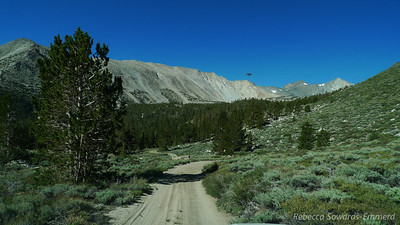 Heading in to Baker Creek. The road looks deceptively smooth in this photo. This was a really rocky, slow going stretch.  This is also the first peek at Cloudripper and Vagabond! (the two peaks on the right).
