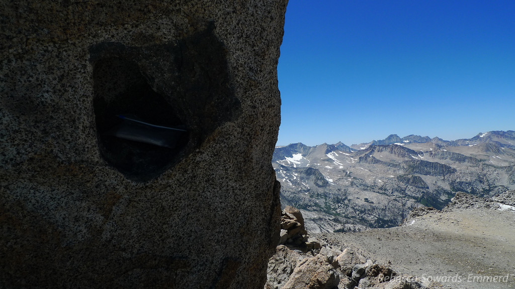 Summit register and west view.
