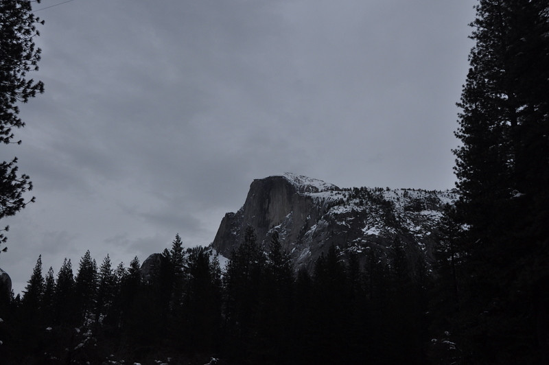 A trip to the valley wouldn't be complete without a shot of half dome. Clouds and rain conspired against a great shot, but look at all the snow!