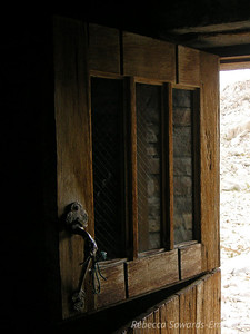 The wooden door to the Muir Hut