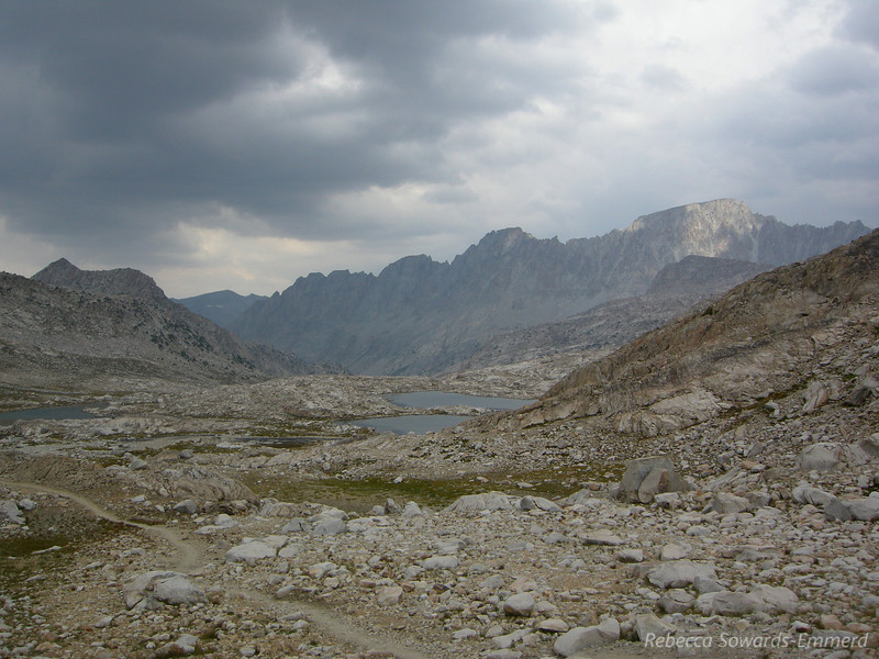 John Muir Trail and unnamed lakes in between Sapphire and Wanda