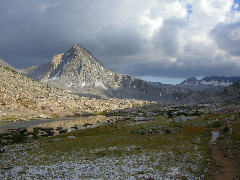 Mt Huxley and the clearing storms. Blue sky over Goddard Divide now.