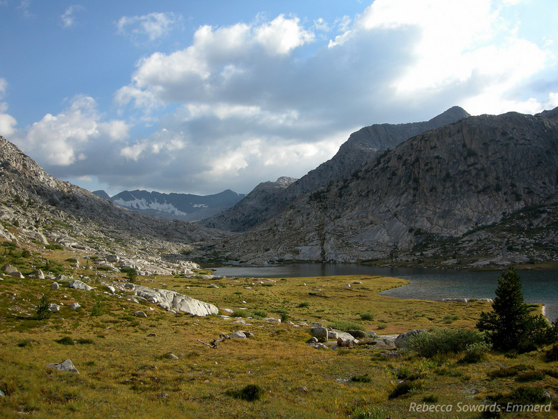 Looking back up Evolution Lake with Goddard Divide in the distance