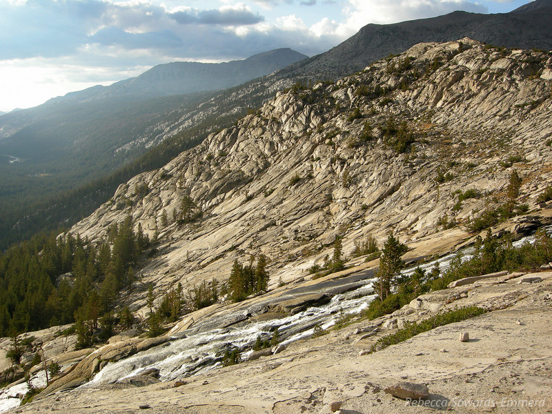 Back at camp the drainage from Evolution Lake/Basin into the Valley below is rushing with the new snowmelt and rain.