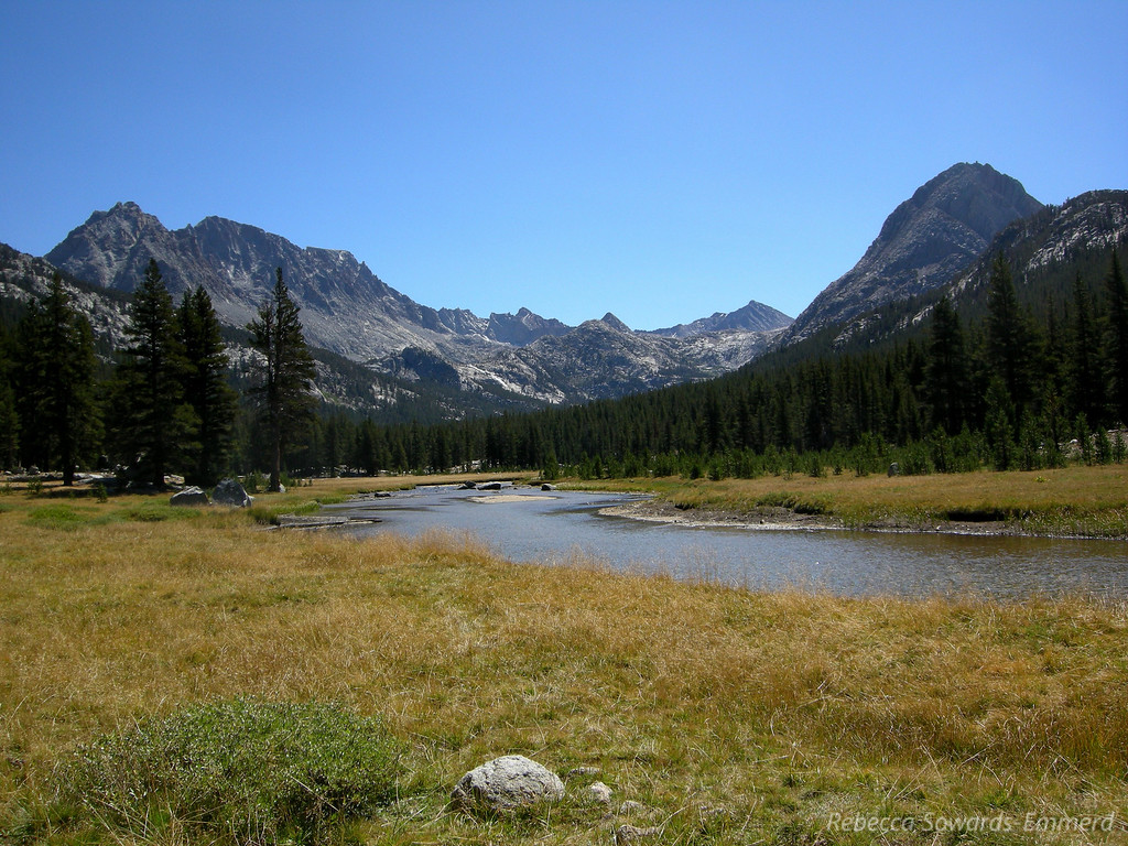 McClure Meadow, view back up towards Evolution Basin. You can the the waterfall coming down from Evolution Lake - near last night's campsite.