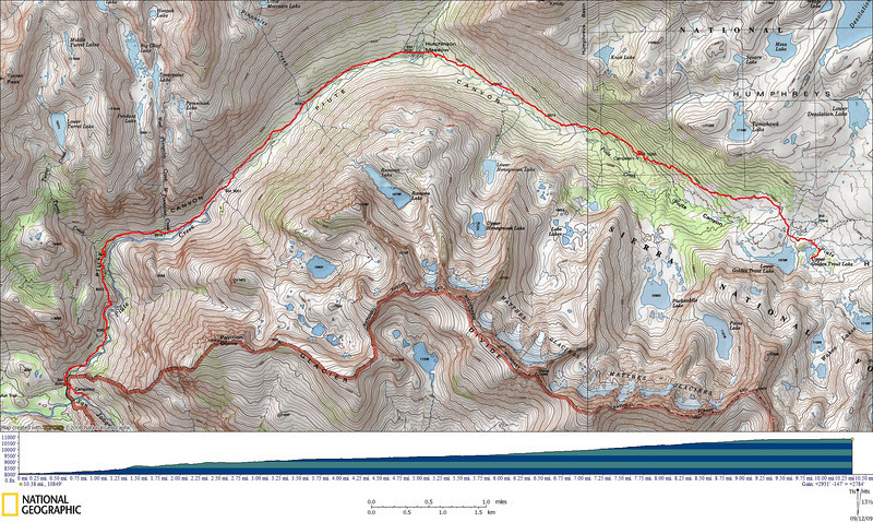 Track and profile of today's hike