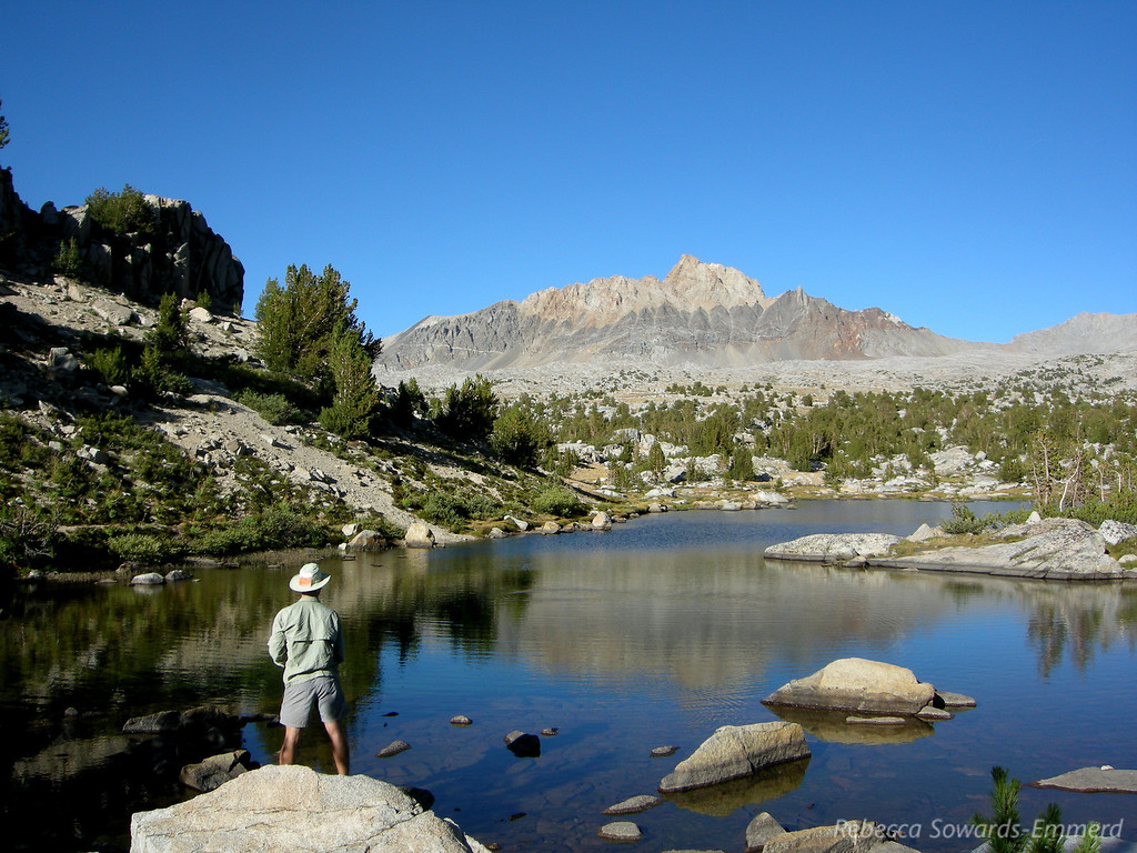 David fishing Upper Golden Trout with Mount Humpreys in the  distance.