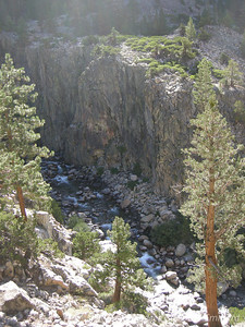 Looking down on the river flowing through Piute Canyon