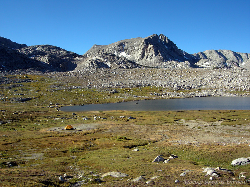 Summit Lake and a solitary tent