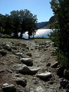 Rocky trail by Loch Leven