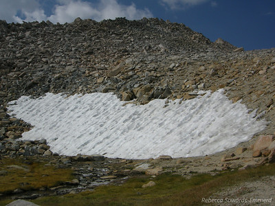 The first snow patch we encountered - didn't have to cross this one, it's next to the trail.