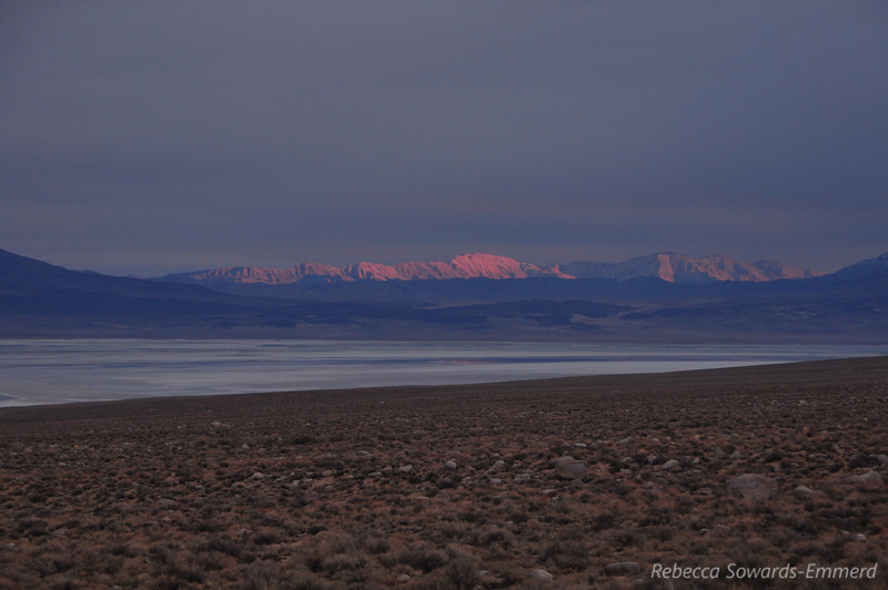 Distant Sunset light over the inyos (Owen's Dry Lake in foreground)
