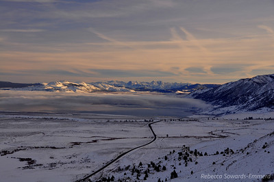 For Christmas this year we headed out to the Eastern Sierra via Reno. On our way down 395 we passed Conway Summit and soon after got this amazing view of Mono Lake shrouded in low clouds/fog.