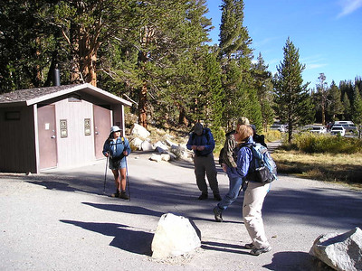 The groups gathering for their hikes  - some toward Bear Creek Spire, the others up Mt Starr