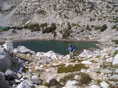 Frank climbing out of the Treasure Lakes basin.  We cut over a small pass to get to Gem Lake and rejoin the trail
