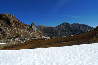 View down Tioga Pass/Lee Vining Peak from Ellery Lake dam.