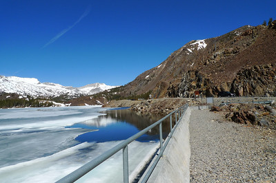 Ellery Lake Dam and Mt Conness in the distance.