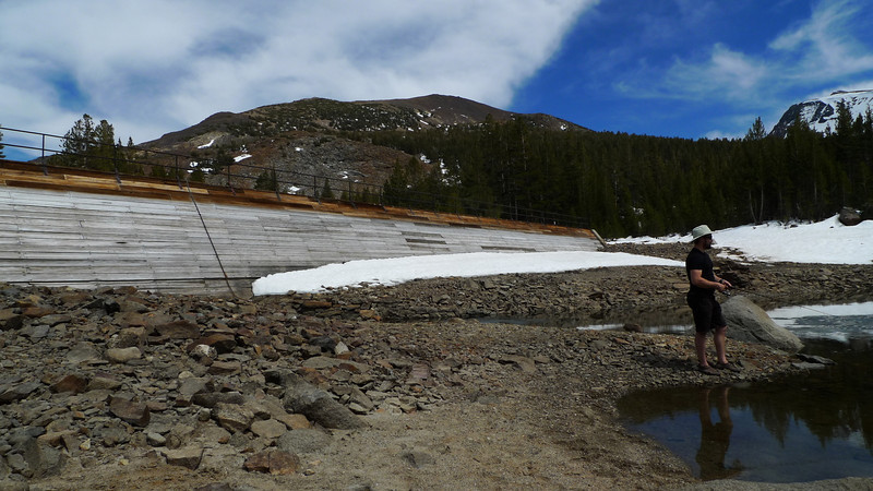 Fishing at Tioga Lake. It's so low! But there were plenty of hungry fishies.