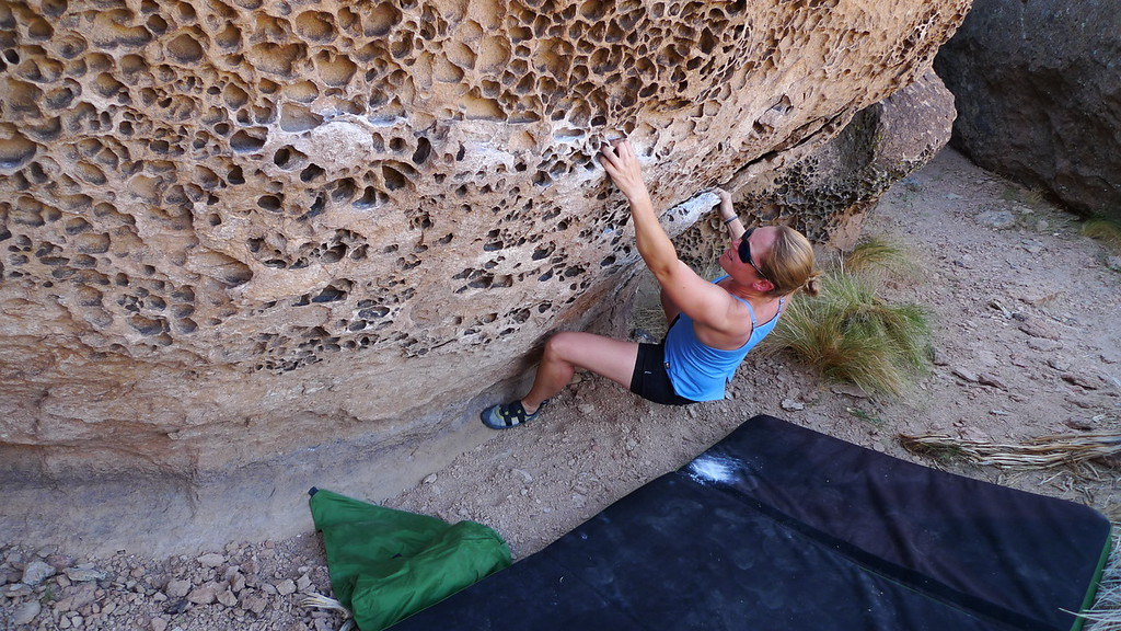 Making up a traverse on one of the Parrot boulders.