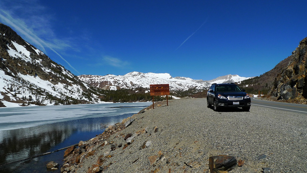 We stopped to fish at Ellery Lake since it was melting out. Here is the new Subie on her first trip over Tioga Pass. The first of many, to be sure.