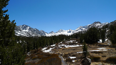 One of my favorite views in the Sierra. Bear Creek Spire, Mt Date, Mt Abbot, Mt Mills. Finally found some snow on the trail up here around 10,500 ft.