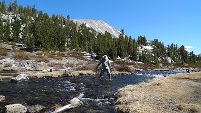 D crossing the very cold creek.
