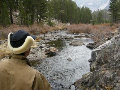 Dave fishing Saddlebag Creek  In his goofy Elmer Fudd hat
