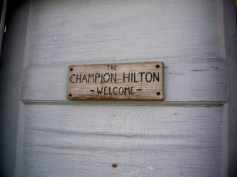 The first cabin we see is called the Champion Hilton.