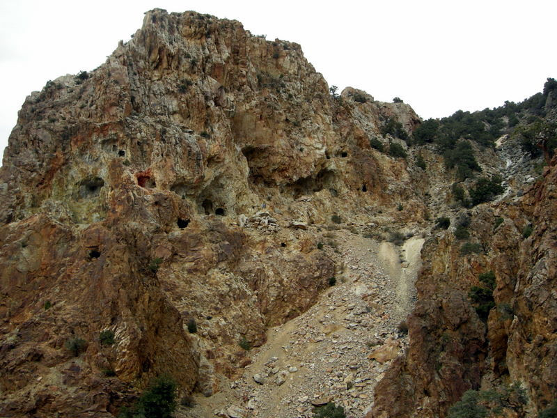 After getting up the switchbacks we see the honeycomb of mines drilled into the rock.
